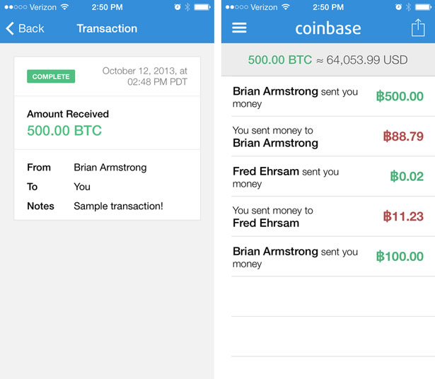 Coinbase iPhone app