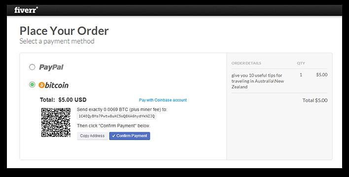 Fiverr accepts BTC via Coinbase